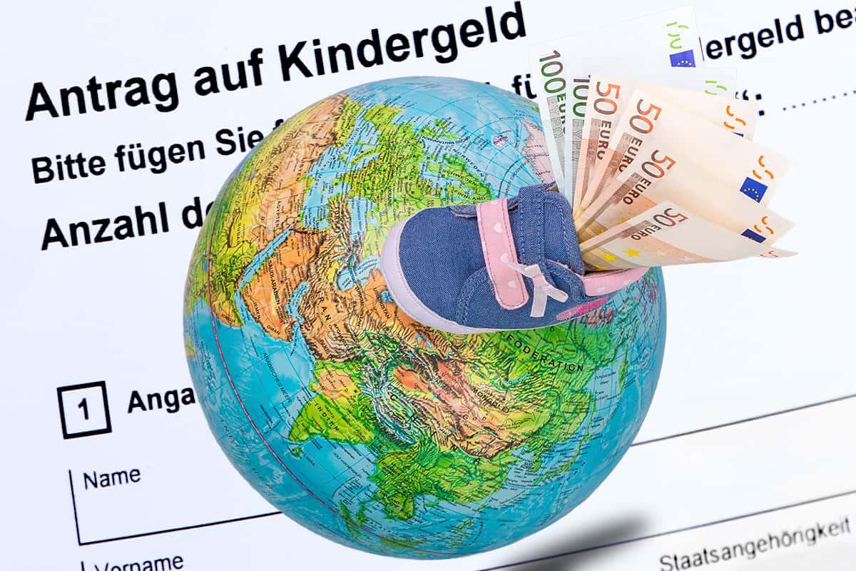 Kindergeldantrag Ausländer Weltkugel Ausland Geld Anspruch